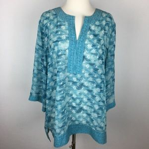 Chico's Teal Patterned Tunic size 2 (Large)
